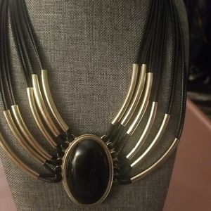 Black and Gold necklace with black stone